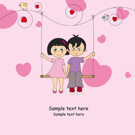 Two children love sitting on a swing. Valentine Card  Stock Vector - 9318900