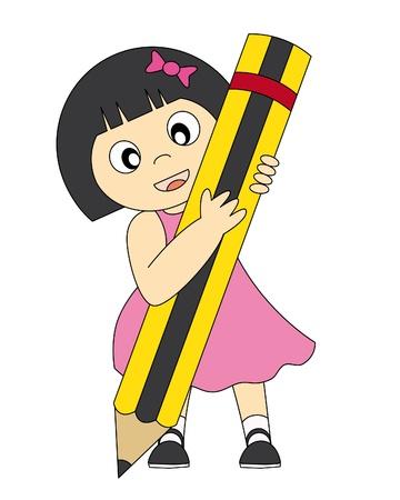niña con un lápiz de dibujo