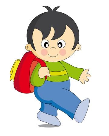 game boy: Enfant qui va � l'�cole avec un sac � dos