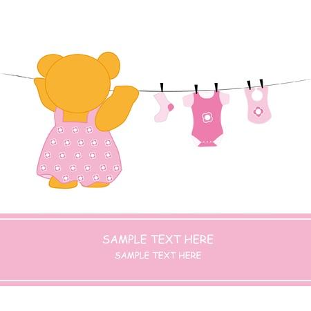 babero: Llevar ropa de suspensi�n. Tarjeta de presentaci�n de llegada de beb� ni�a