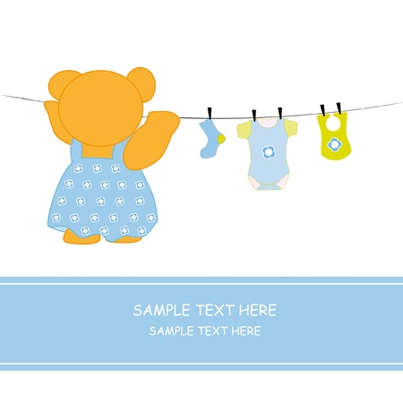 Bear hanging clothes. Baby boy arrival announcement card  Vector
