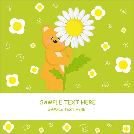 postcard. Bear with flower  Vector