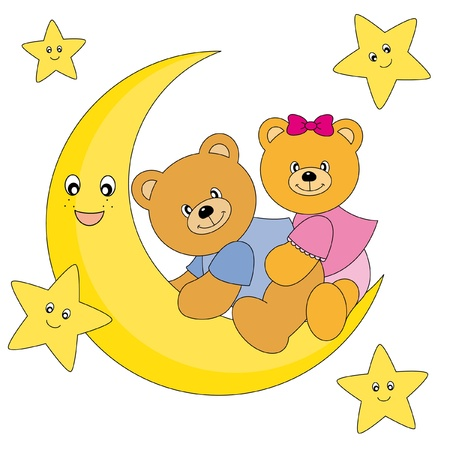 two bears sitting on the moon. Drawing isolated white background  Vector