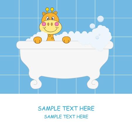 Giraffe dans la salle de bain. Carte de Baby boy arrivée annonce  Vecteurs