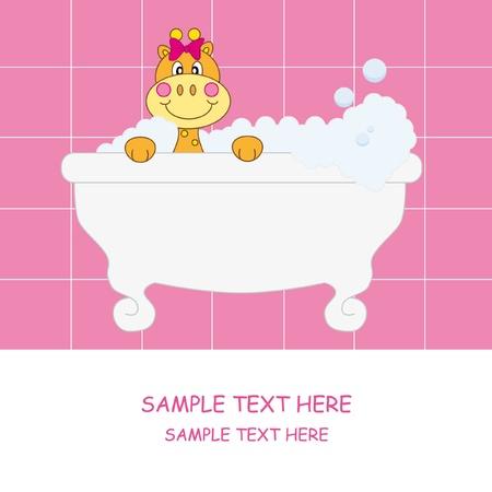 Giraffe dans la salle de bain. Carte de baby girl arrivée annonce  Vecteurs