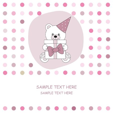 funny birthday: greeting card. Bear with gift
