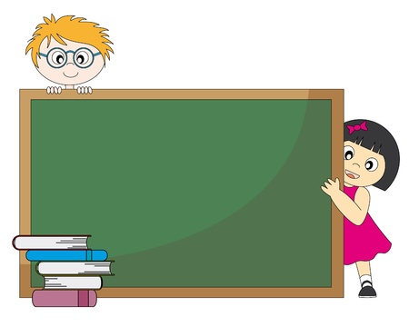 Back to school. Students around a blackboard. Vector