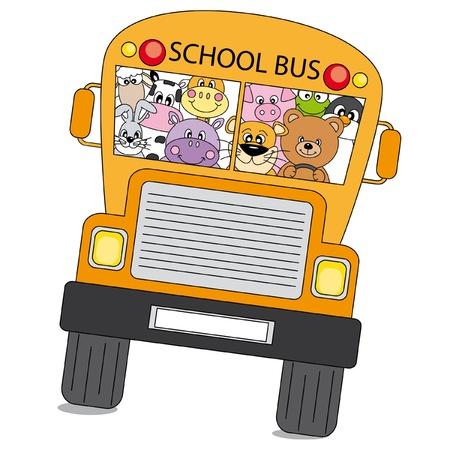 escuela caricatura: Muchos animales son en el bus a la escuela  Vectores