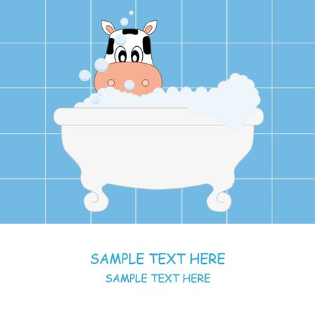 water birth: Cow bathing. Baby boy arrival announcement card