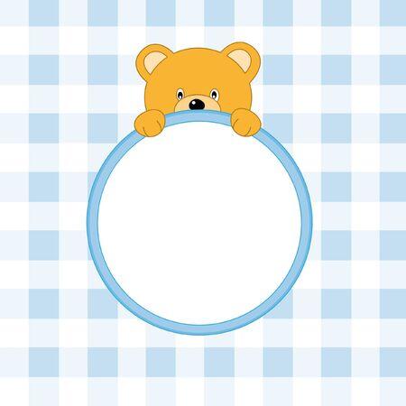 Bear frame. Baby boy arrival announcement Vector