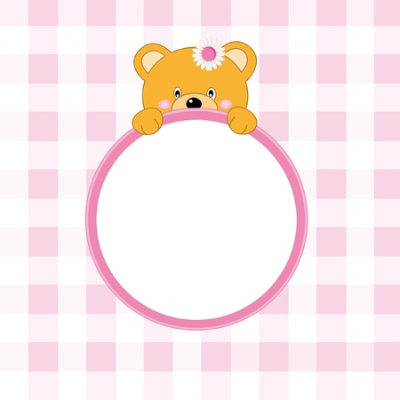 Bear frame. Baby girl arrival announcement  Vector