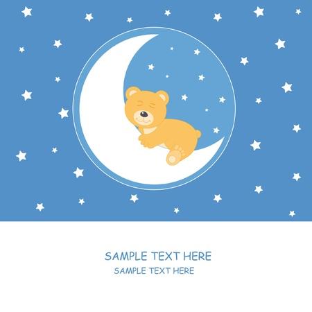 baby bear cartoon: Bear sleeping on the moon. Baby boy arrival announcement card  Illustration