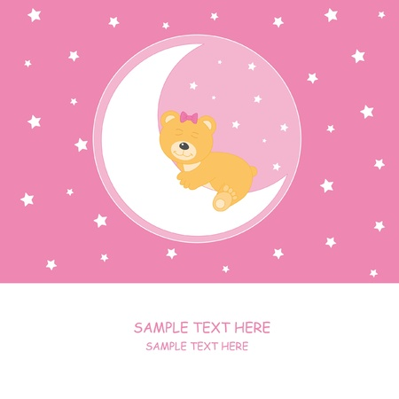 Bear sleeping on the moon. Baby girl arrival announcement card  Stock Vector - 9382096