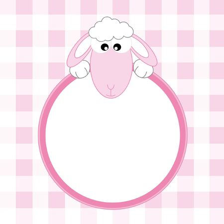 baby girl arrival: Baby girl arrival announcement. sheep