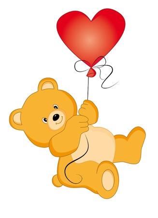 roztomilý: Bear balloon. Vector  Ilustrace