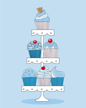 topping: A selection of delicious cupcakes and muffins presented on multi-tiered display stand.  Illustration