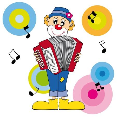 acordeon: payaso tocando el acorde�n. Vector arte-ilustraci�n sobre un fondo blanco.