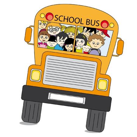 Back to school. School bus full of children