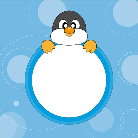 Cute Penguin. Vector. Greeting Card  Vector