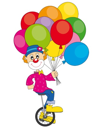 funny clown with lots of balloons   art-illustration on a white background   Vector