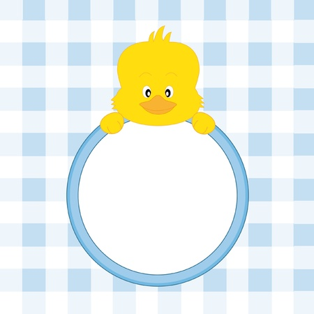 Baby boy arrival announcement. Chicken framework Vector