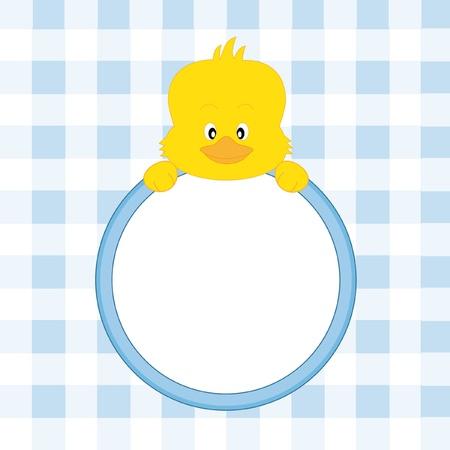 childlike: Baby boy arrival announcement. Chicken framework Illustration