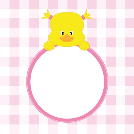 Baby girl arrival announcement. Chicken framework Stock Vector - 9426573