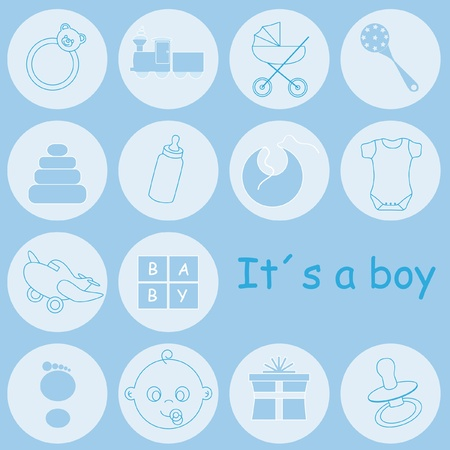 Baby boy arrival announcement card  Vectores