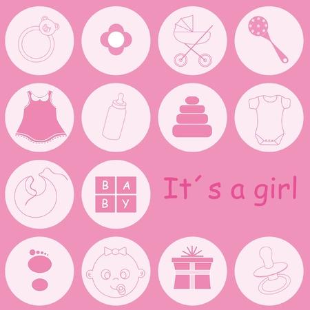 babero: Tarjeta de presentación de llegada de bebé niña