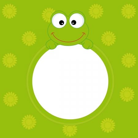 cartoon frame: biglietto di auguri. telaio di rana