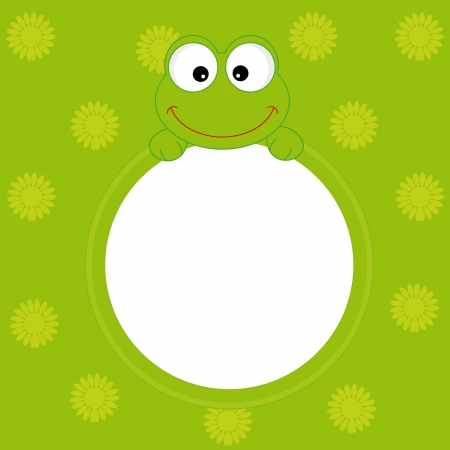 greeting card. frog frame Vector