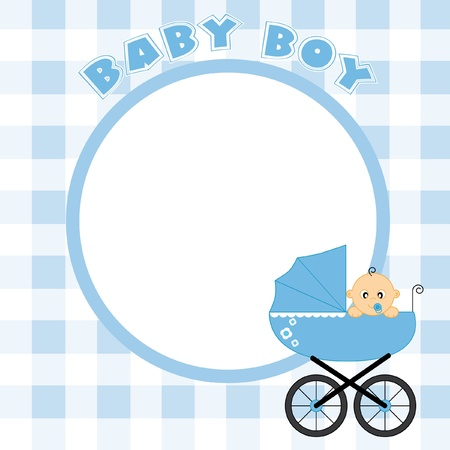 flowers boy: Baby boy frame for text or photo Illustration