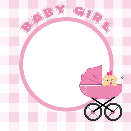 Baby Girl Frame für Text oder Foto Vektorgrafik
