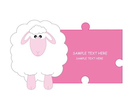 sheep. Baby boy arrival announcement card Vector