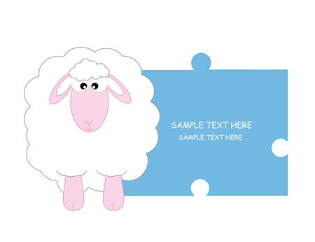 sheep. Baby boy arrival announcement card  Stock Vector - 9426565