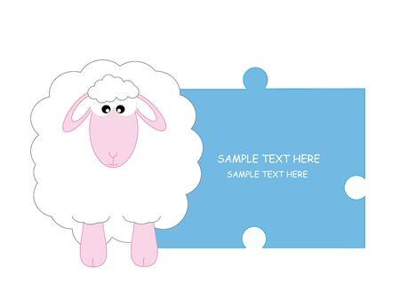 sheep cartoon: sheep. Baby boy arrival announcement card