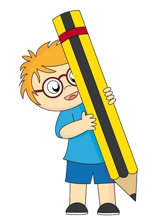 Boy drawing with a pencil Stock Vector - 9459676