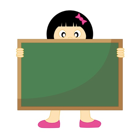 slate: Back to school.Girl with a blackboard. Drawing isolated white background