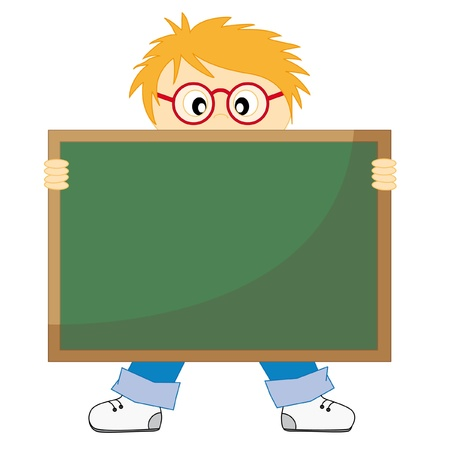 Back to school.Child with a blackboard. Drawing isolated white background  Vector