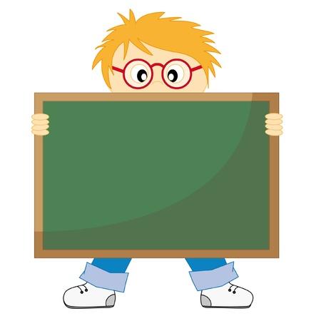 educacion: Regreso a la escuela.Ni�o con una pizarra. Fondo blanco dibujo aislado  Vectores