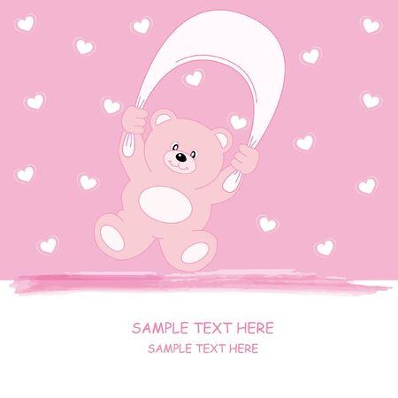 Annuncio di arrivo ragazza bambino. Bear rosa Vettoriali