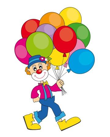 brincolin: payaso divertido con una gran cantidad de globos. Vector arte-ilustración sobre un fondo blanco.
