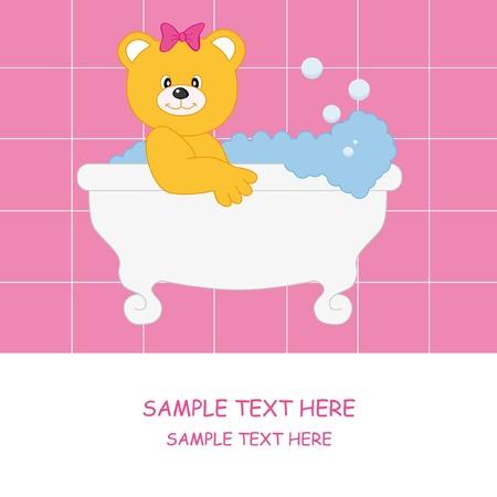 Baby girl arrival announcement card. Bear Vector