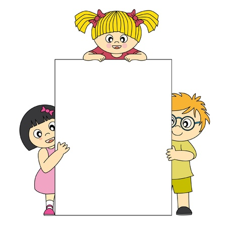 kids with blank banners for your message  Vector