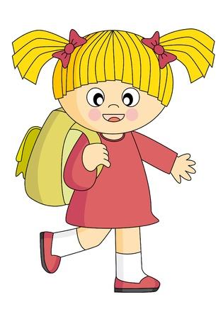 idzie: Dziewczyna, który udaje się do szkoły z plecak