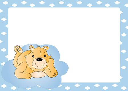 Teddy bear for baby boy - baby arrival announcement  Vector