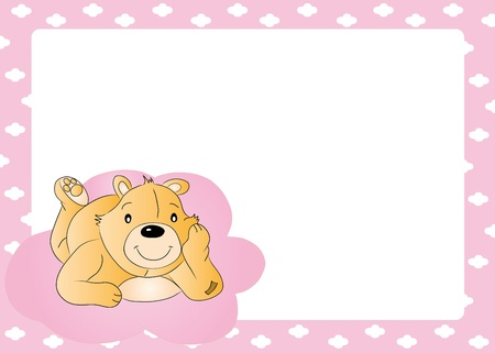 Teddy bear for babygirl - baby arrival announcemen Vector