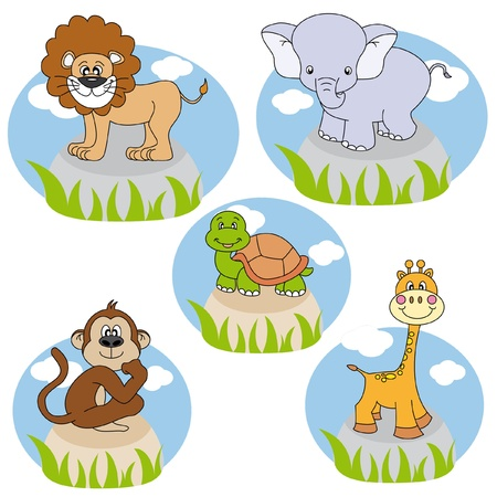Animals. Funny cartoon and vector characters. Isolated objects  Vector