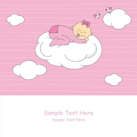 baby girl arrival: Baby girl arrival announcement card.baby sleeping on the moon
