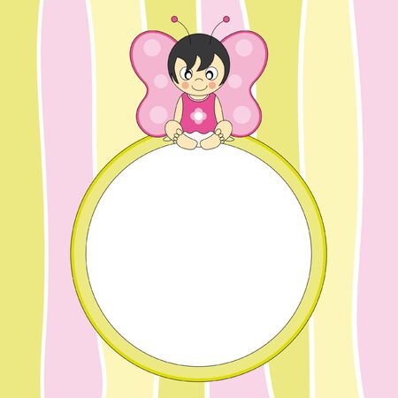 Frame. Butterfly girl disguised Stock Vector - 9549846